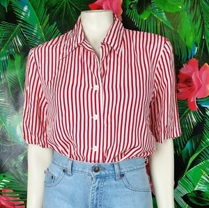 Red and White Striped Vintage Button Blouse
